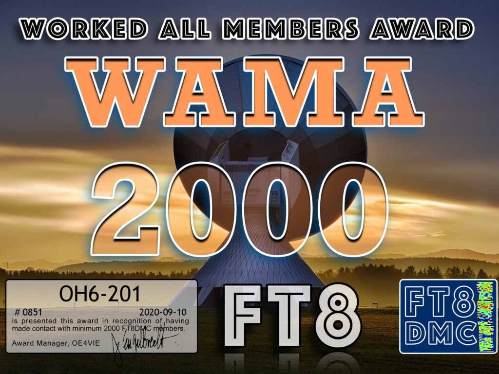 Award: Worked All Members Award – WAMA 2000